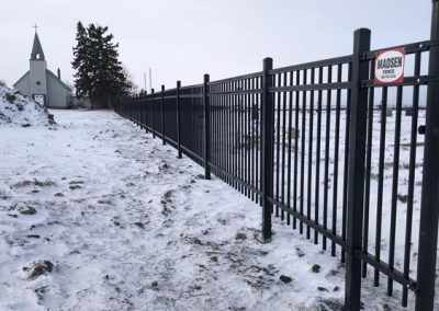 Wrought iron fence church