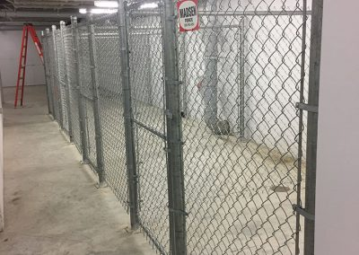 interior space chain link fence storage area