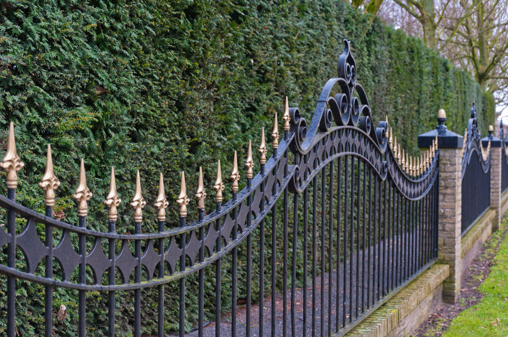 wrought iron and cement fence